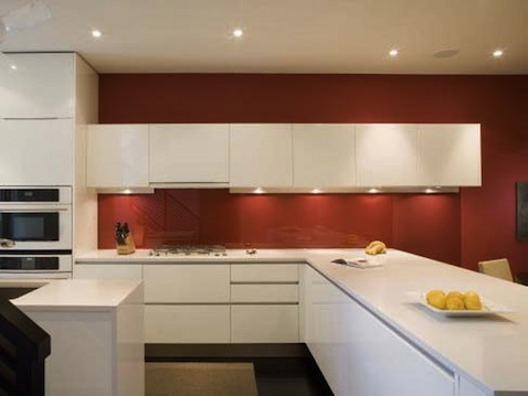Kitchen Color Red and White
