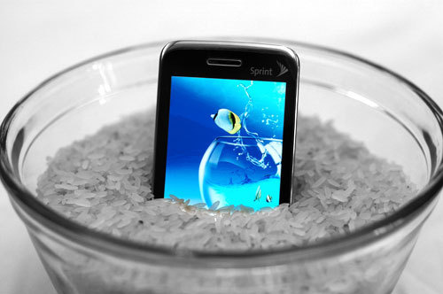 wet cellphone in rice