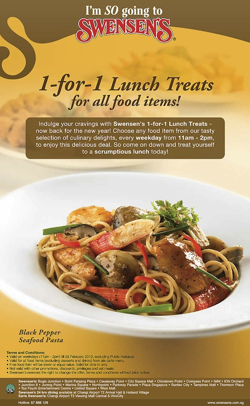 Swensen's 1-for-1 lunch treat